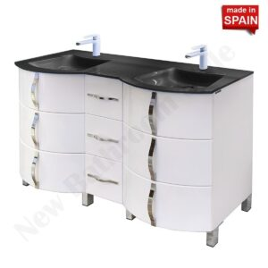 Socimobel Kron 60 Inch Double Bathroom Vanity With Black Glass Sink