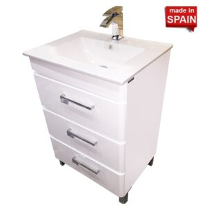 24- INCH YANE GLOSSY WHITE EUROPEAN BATHROOM VANITY SOCIMOBEL Made in Spain