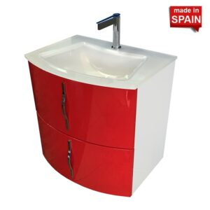 24-in KRON EUROPEAN BATHROOM VANITY RED WHITE SOCIMOBEL Made in Spain