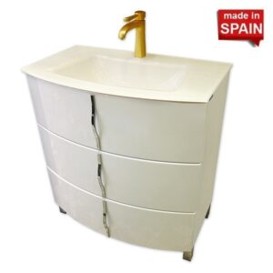 32 INCH CRON GLOSSY WHITE BATHROOM VANITY WHITE SOCIMOBEL MADE IN SPAIN_