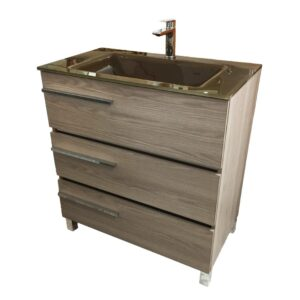 32 Inch Modern Bathroom Vanity AVRORA color Estepa Socimobel made in Spain