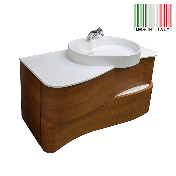 42in Gb Group Onda Wall Mounted Bathroom Vanity Cetto Walnut Finish Made In Italy