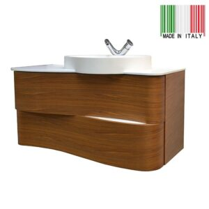 42in GB Group Onda Wall-Mounted Bathroom Vanity Canaletto Walnut Finish Made In Italy_