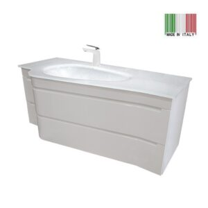 48 Inch Modern Bathroom Vanity Slalom Glossy White Made in Italy SM-GW-48
