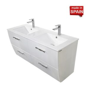 48 Inch LONDON Glossy White Double Bathroom Vanity SOCIMOBEL Made in Spain 48DB-GW-2