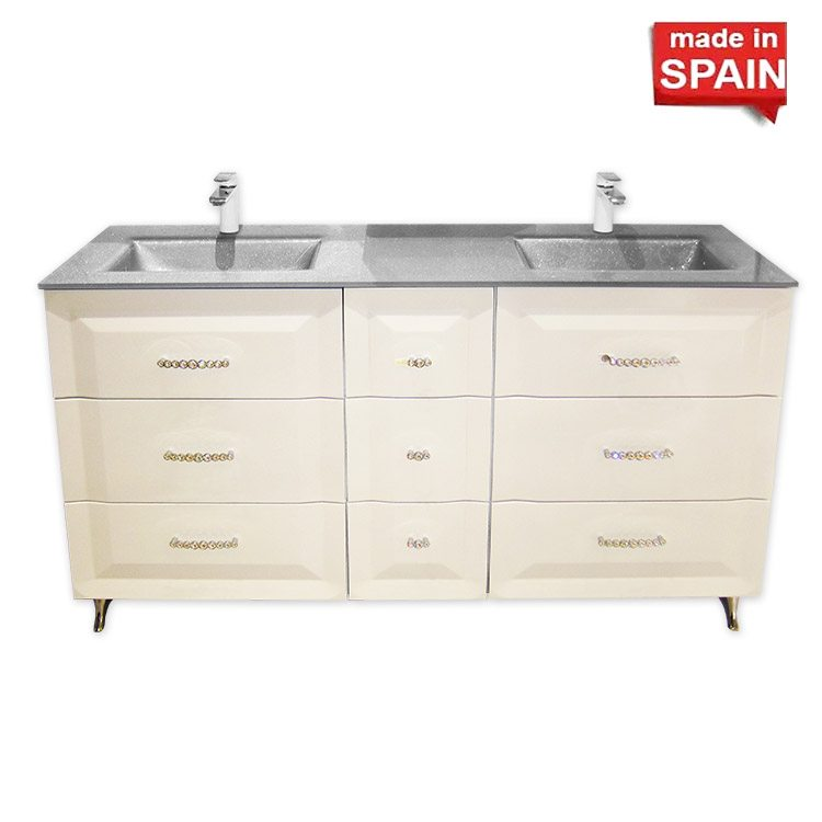 46c221776 Socimobel 60 Inch CLOE Double Bathroom Vanity with handles SWAROVSKI