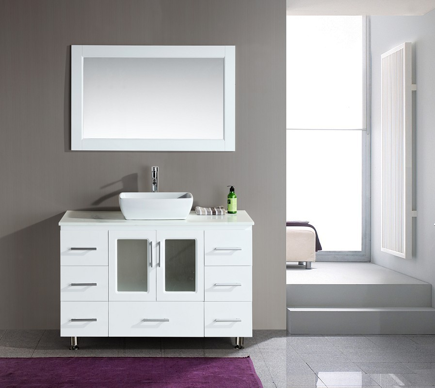 Stanton 48 Inch Single Sink Vanity Set With Vessel Sink In White