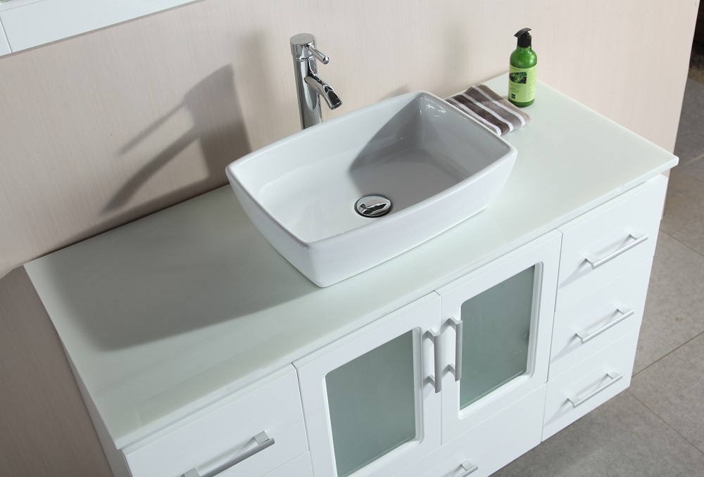 Stanton 48 Inch Single Sink Vanity Set With Vessel Sink In White Design  Element, B48