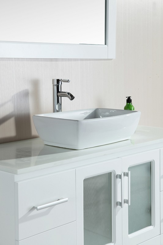 "Stanton 48"" Single Sink Vanity Set with Vessel Sink in White Design Element, B48-VS-W"