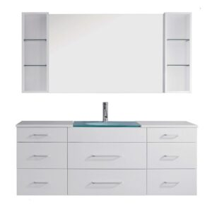 Columbo 63 inch Single Bathroom Vanity Cabinet Set in White UM-3089-WH