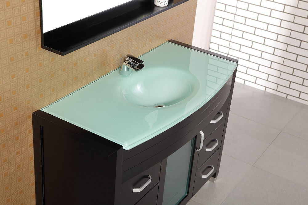 Waterfall 48 Inch Single Sink Vanity Set W/ Glass Top Design Element,  DEC017