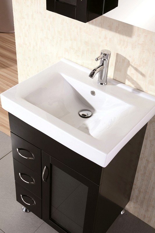"Milan 24"" Single Sink Vanity Set in Espresso Design Element, DEC022"