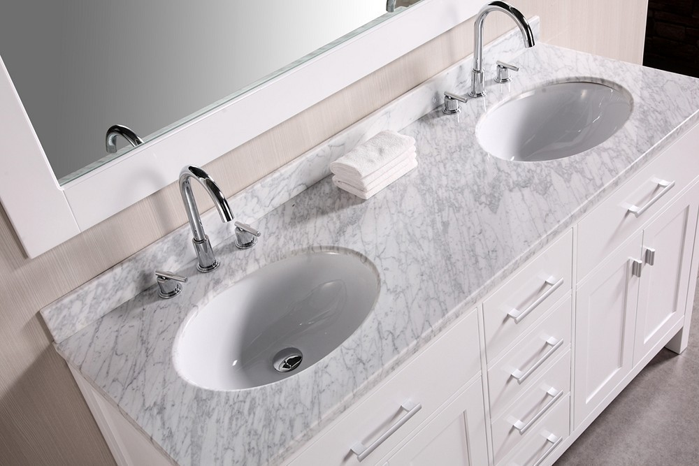 Lovely London 61 Inch Double Sink Vanity Set In White Design Element, DEC076A W