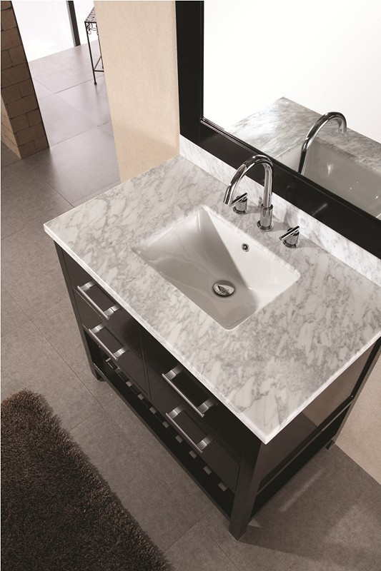 "London 36"" Single Sink Vanity Set in Espresso Design Element, DEC077A"