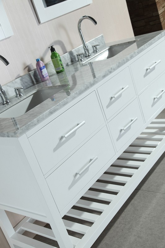 "London 61"" Double Sink Vanity Set in White with Open Bottom Design Element, DEC077C-W"