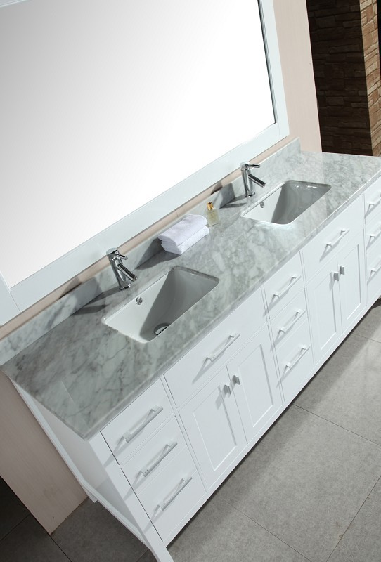 "London 78"" Double Sink Vanity Set in White Design Element, DEC088-W"