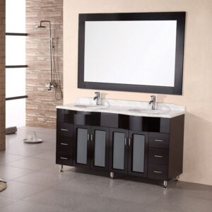 "Bello 61"" Double Sink Vanity Set in Espresso Design Element, DEC096"