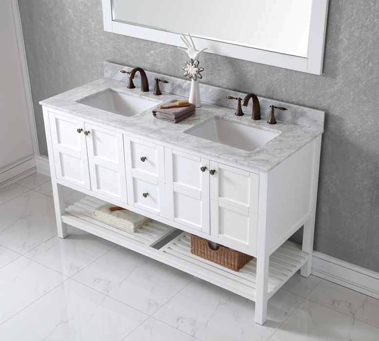Virtu USA 60 Inch Elise Square Sink Vanity In White With Italian Carrara  Marble Top