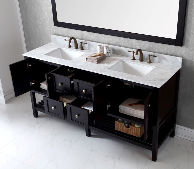 Virtu Usa 72 Inch Winterfell Double Sink Vanity In Espresso With Italian Carrara Marble Top