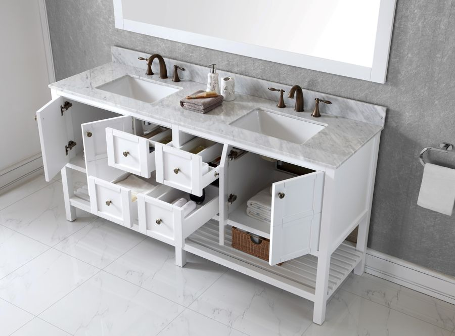 Virtu Usa 72 Inch Winterfell Double Sink Vanitiy In White With