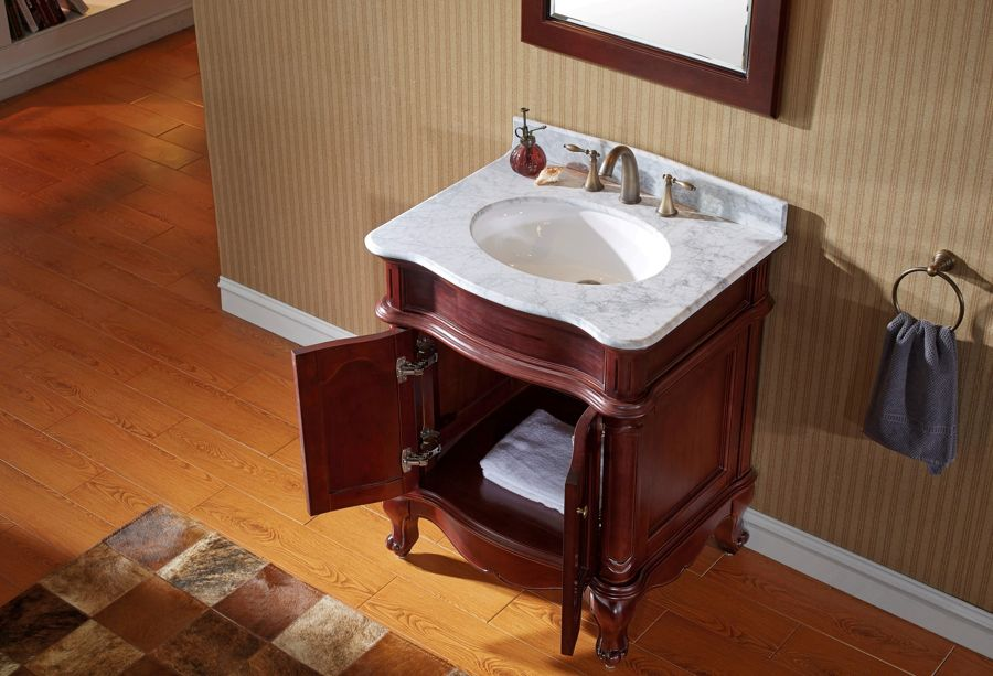 Attrayant Virtu USA 30 Inch Norhaven Round Sink Vanity In Antique Cherry With Italian  Carrara Marble Top