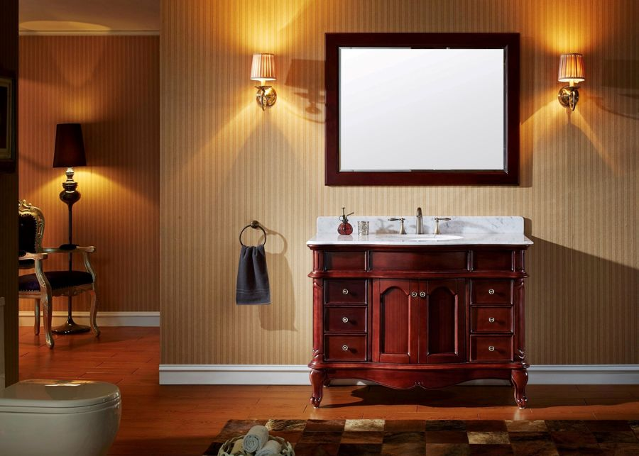 Virtu USA 48 Inch Norhaven Round Sink Vanity In Antique Cherry With Italian  Carrara Marble Top