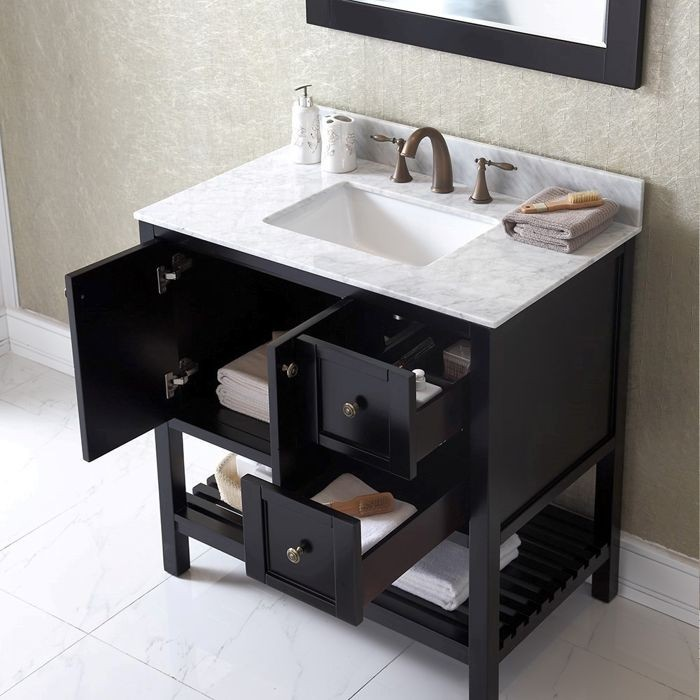 Virtu USA 36 Inch Winterfell Square Sink Vanity In Espresso With Italian  Carrara Marble Top