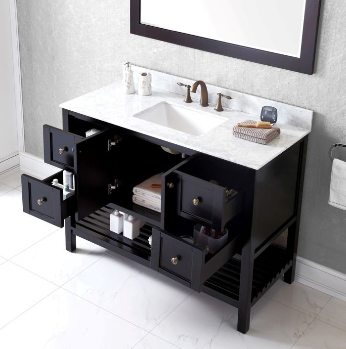 Virtu Usa 48 Inch Winterfell Square Sink Vanity With Italian Carrara