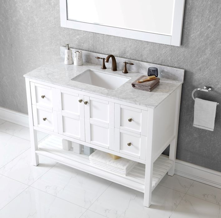 Virtu Usa 48 Inch Winterfell Square Sink Vanity In White With