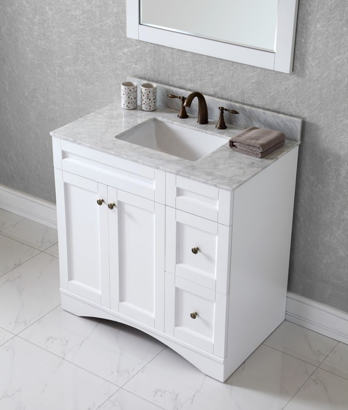 Virtu USA 36 Inch Elise Square Sink Vanity In White With Italian Carrara Marble  Top