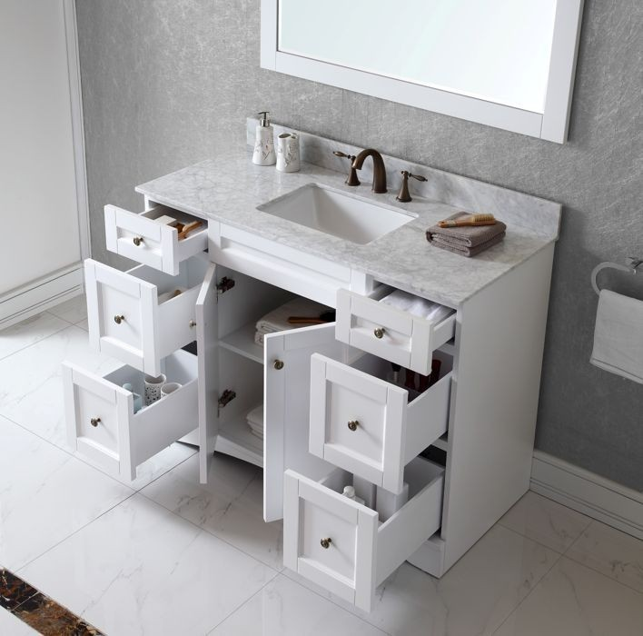 Virtu Usa 48 Inch Elise Square Sink Vanity In White With Italian