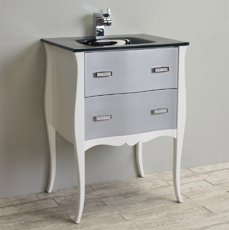Eviva Aranjuez 24 White Silver Modern Bathroom Vanity Set With Integrated Sink