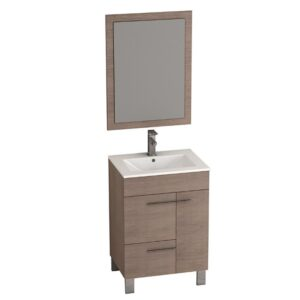 Eviva Cup® 24″ Medium Oak Modern Bathroom Vanity with White Integrated Porcelain Sink