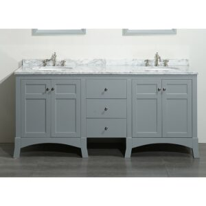 New York Gray 72 Inch Double Bathroom Vanity Eviva