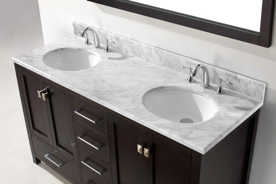 Virtu USA 60 Inch Caroline Avenue DOUBLE SINK VANITY In Espresso With  Italian Carrara Marble Top
