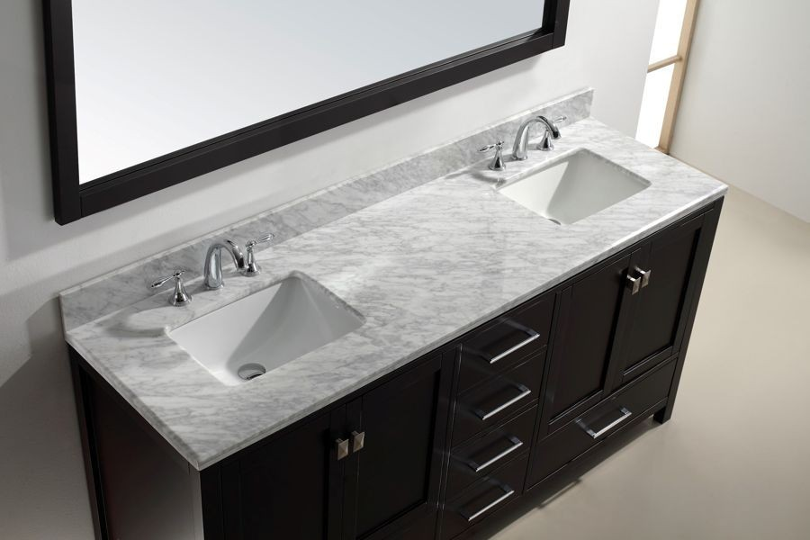 Virtu Usa 72 Inch Caroline Avenue Bathroom Vanity In Espresso White Marble New Style