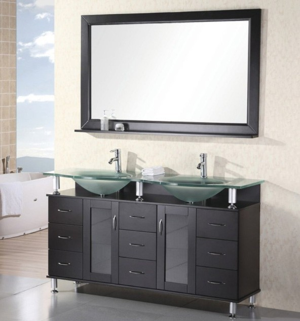 "Huntington 60"" Double Sink Vanity Set in Espresso Design Element, DEC015D"