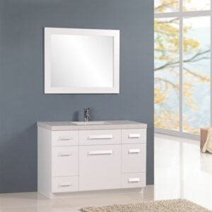 "Moscony 48"" Single Sink Vanity Set in White Design Element, J48-DS-W"