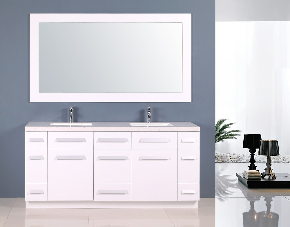 Moscony 72 Inch Double Sink Vanity Set in White Design Element, J72 ...