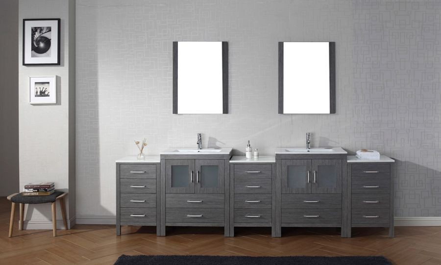 Virtu Usa 110 Inch Dior Bathroom Vanity Zebra Grey With