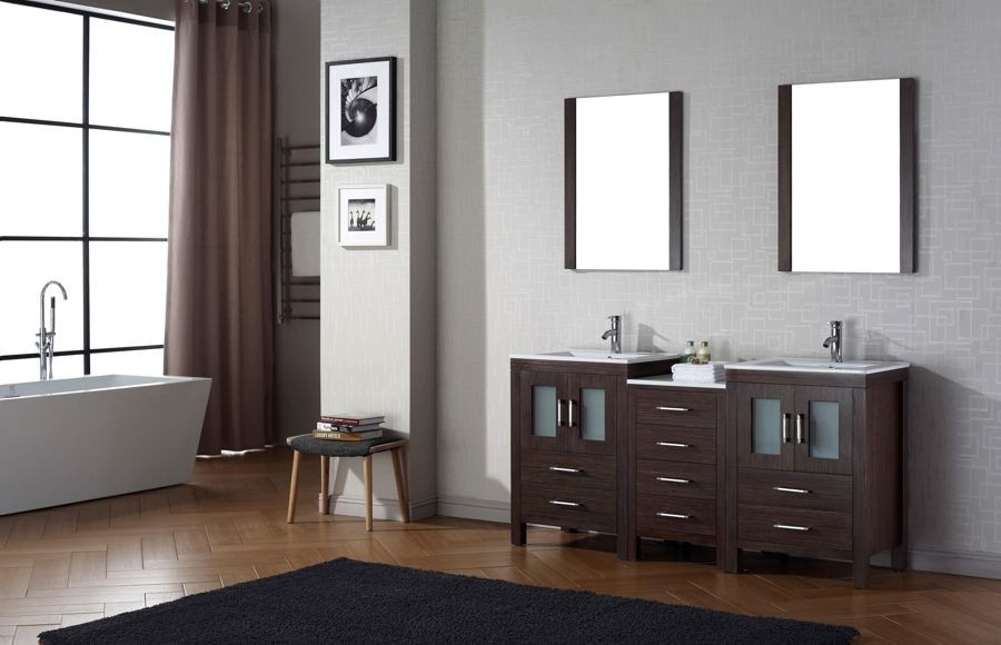 Virtu USA Inch Dior Bathroom VANITY Espresso With Ceramic - 66 inch bathroom vanity