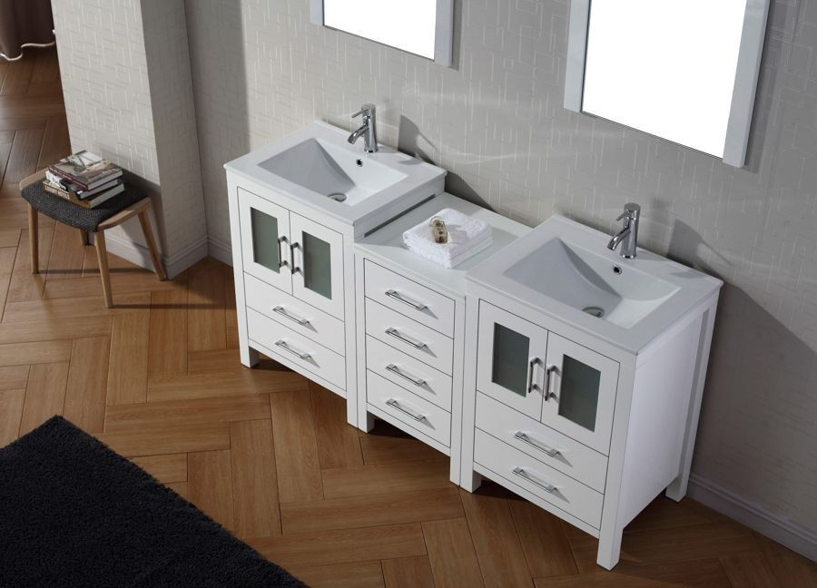 Virtu USA 66 Inch Dior Bathroom VANITY White With Ceramic Countertop