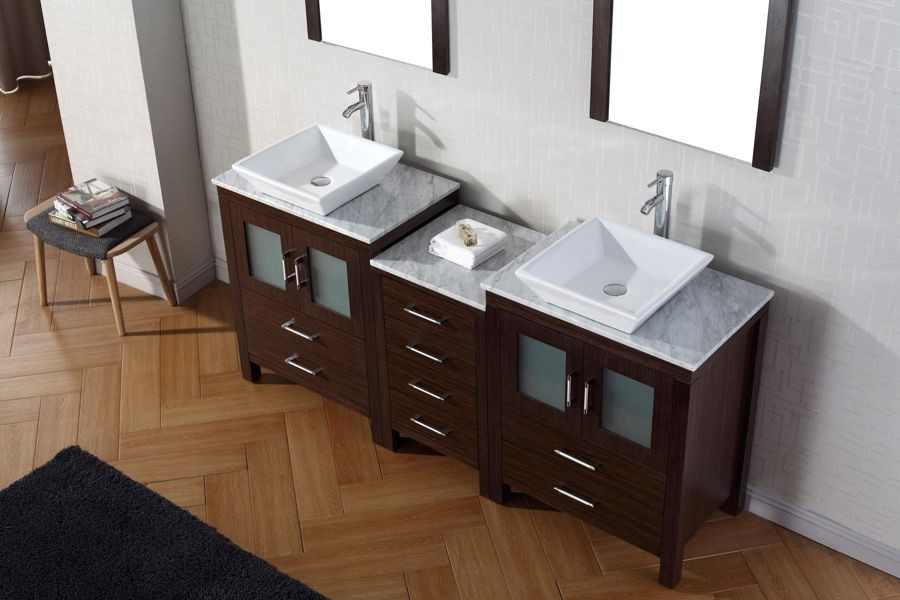 Virtu Usa 66 Inch Dior Double Bathroom Vanity Espresso