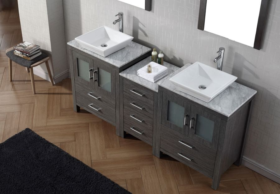 Virtu USA Inch Dior DOUBLE SINK VANITY Zebra Grey With Italian - 66 inch bathroom vanity