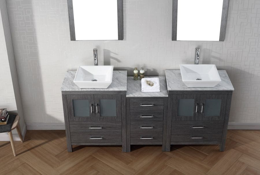 Virtu USA 66 Inch Dior DOUBLE SINK VANITY Zebra Grey With Italian Carrara  Marble Countertop