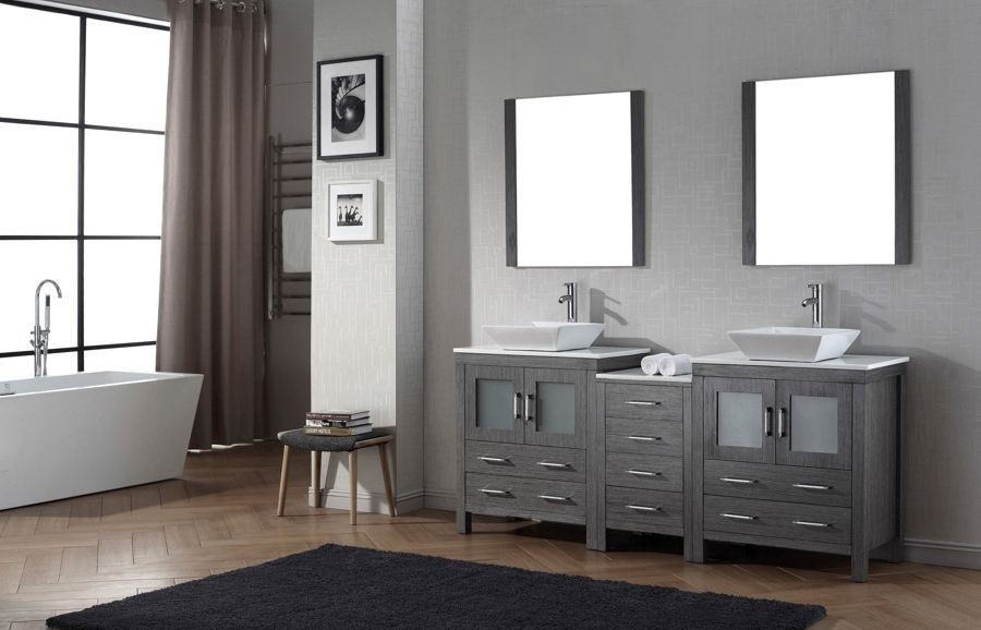 Virtu USA 78 Inch Dior Bathroom VANITY Zebra Grey With Pure White Marble Countertop