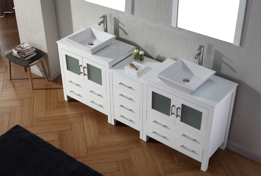 Virtu Usa 82 Inch Dior Bathroom Vanity White With Pure