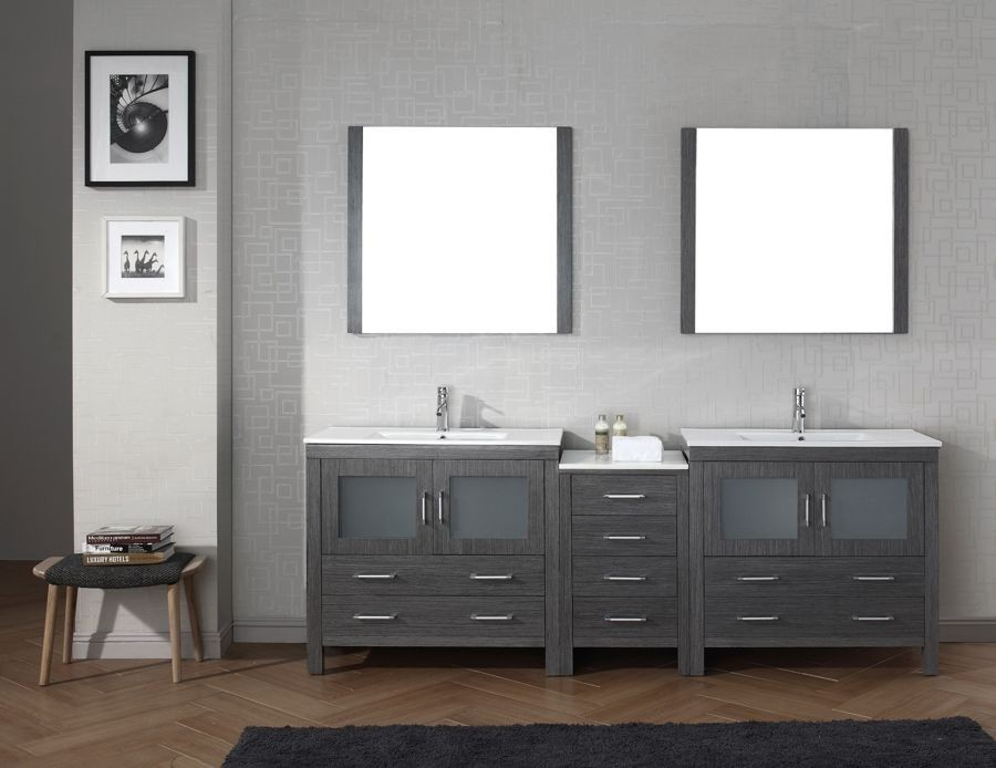 Virtu Usa 90 Dior Double Sink Vanities Bathroom Vanity Set In Zebra Grey With