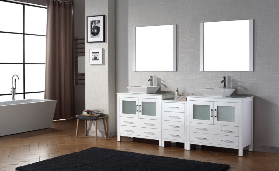 Virtu Usa 90 Inch Dior Bathroom Vanity White With Pure Marble Countertop