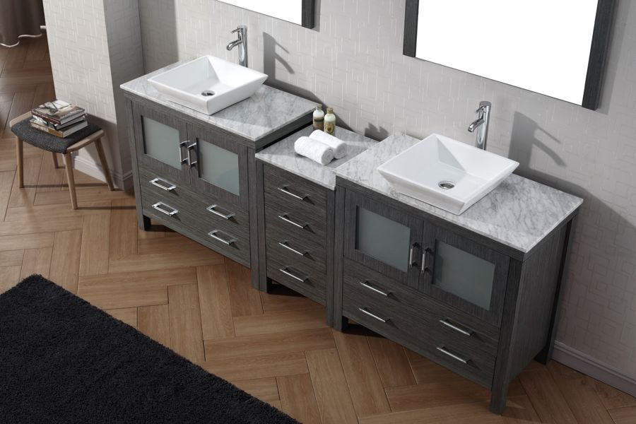 Virtu USA 90 Inch Dior DOUBLE SINK VANITY Zebra Grey With Italian Carrara  Marble Counter Top